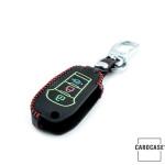 Schlüssel Cover aus echtem Leder für Ford, Nachleuchtend, Schlüssel Typ F2 schwarz/rot