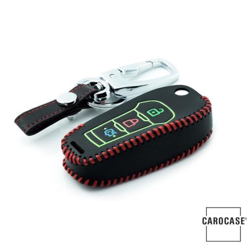 Schlüssel Cover aus echtem Leder für Ford, Nachleuchtend, Schlüssel Typ F2 schwarz/schwarz