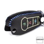 Schlüssel Cover aus echtem Leder für Ford, Nachleuchtend, Schlüssel Typ F2 schwarz/blau