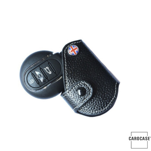 Car Key Cover, black leather for Mini-Cooper R55 R56, Key Type MC2 Variant A