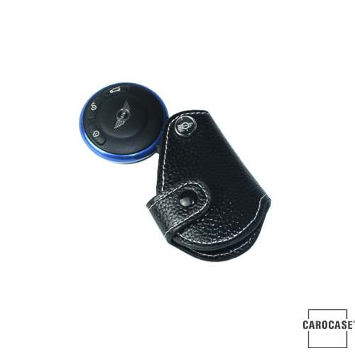 Car Key Cover, black leather for Mini-Cooper R55 R56, Key Type MC2 Variant D