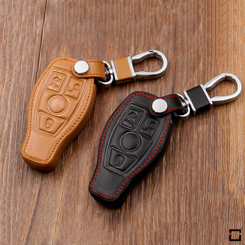 Leather key case/cover incl. keychain for Mercedes-Benz remote key