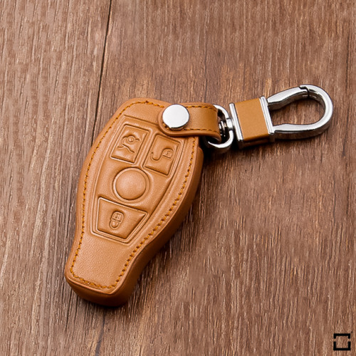 Leather key fob cover case fit for Mercedes-Benz M8 remote key brown