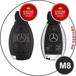 Coque / Housse Clé télécommande en cuir Voiture incl. mousquetons pour Mercedes-Benz brun LEK1-M8-2