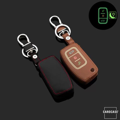 Leder Schlüssel Cover passend für Ford Schlüssel  LEUCHTEND! LEK2-F1