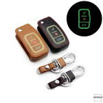 Luminous leather car key case for Ford - key type F1 black