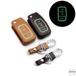 Leder Schlüssel Cover passend für Ford Schlüssel schwarz LEUCHTEND! LEK2-F1-1