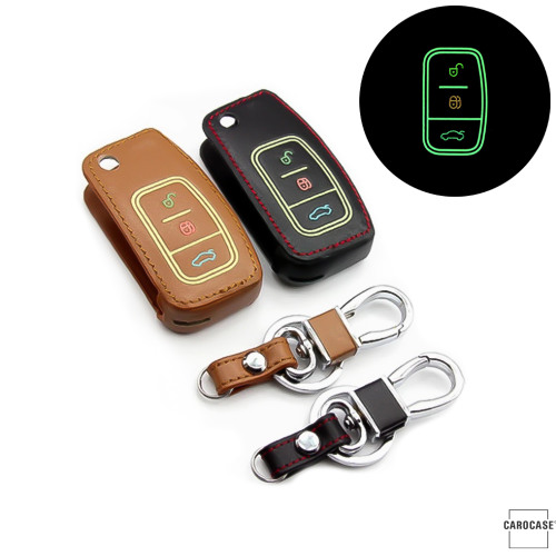 Leather key fob cover case fit for Ford F1 remote key brown