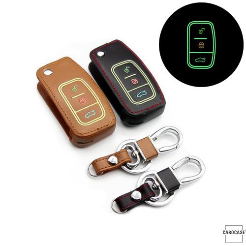 Leder Schlüssel Cover passend für Ford Schlüssel braun LEUCHTEND! LEK2-F1-2