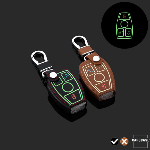 Leder Schlüssel Cover passend für Mercedes-Benz Schlüssel schwarz LEUCHTEND! LEK2-M7-1