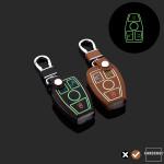 Leder Schlüssel Cover passend für Mercedes-Benz Schlüssel braun LEUCHTEND! LEK2-M7-2