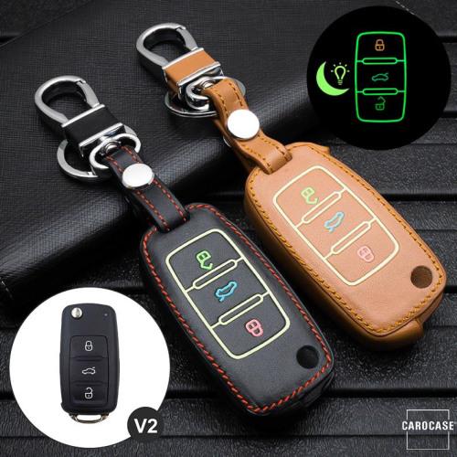 Leder Schlüssel Cover passend für Volkswagen, Skoda, Seat Schlüssel  LEUCHTEND! LEK2-V2