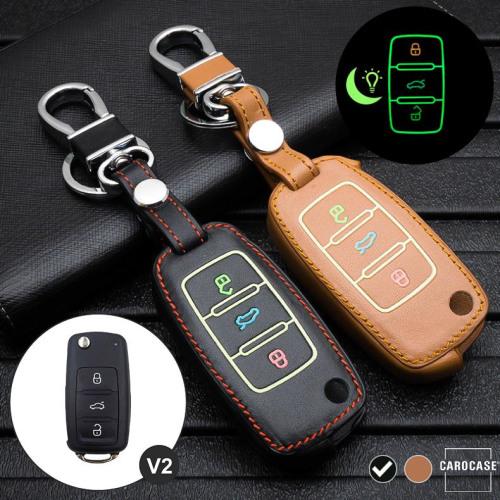 Leder Schlüssel Cover passend für Volkswagen, Skoda, Seat Schlüssel schwarz LEUCHTEND! LEK2-V2-1