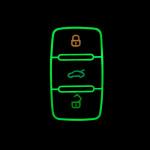 Luminous glow leather key case/cover for Volkswagen, Skoda, Seat car keys black