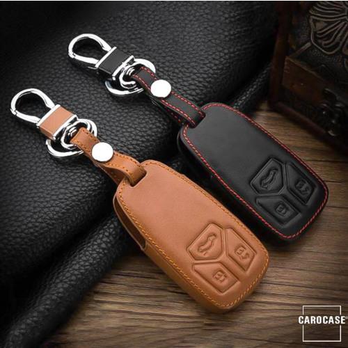 Coque / Housse Clé télécommande en cuir Voiture incl. mousquetons pour Audi  LEK1-AX6