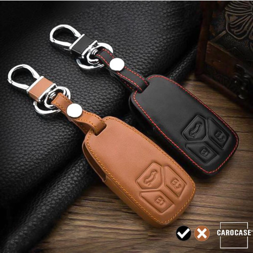 Coque de protection en cuir pour voiture Audi clé télécommande AX6 noir