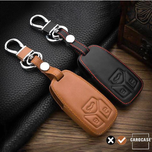 Leather key fob cover case fit for Audi AX6 remote key brown
