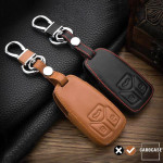 Leather key case/cover incl. keychain for Audi remote key brown