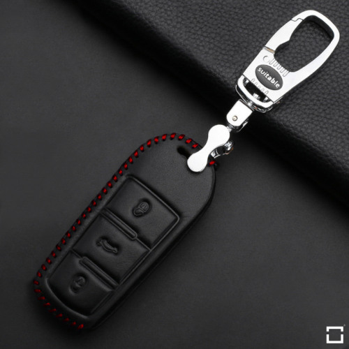 Leather key case/cover incl. keychain for Volkswagen remote key black/red
