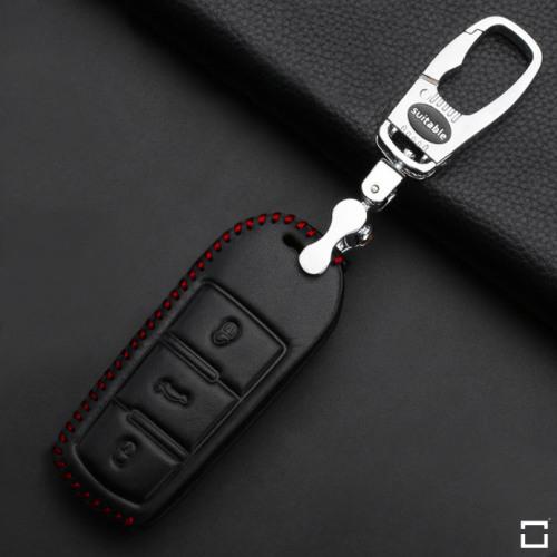 Coque / Housse Clé télécommande en cuir Voiture incl. mousquetons pour Volkswagen noir/rouge LEK22-V5-11