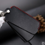 Leder Schlüssel Cover passend für Volkswagen Schlüssel V5 schwarz/rot