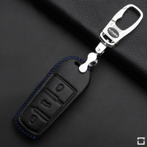 Leather key fob cover case fit for Volkswagen V5 remote key black/blue