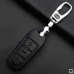 Leder Schlüssel Cover passend für Volkswagen Schlüssel V5 blau, schwarz, schwarz/blau