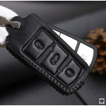 Leather key case/cover incl. keychain for Volkswagen remote key blue, black, black/blue