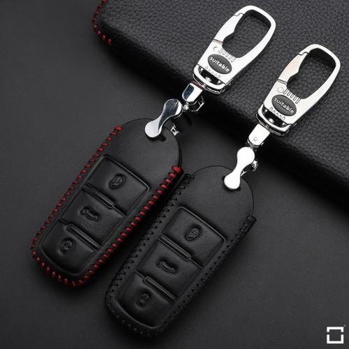 Coque de protection en cuir pour voiture Volkswagen clé télécommande V6 noir