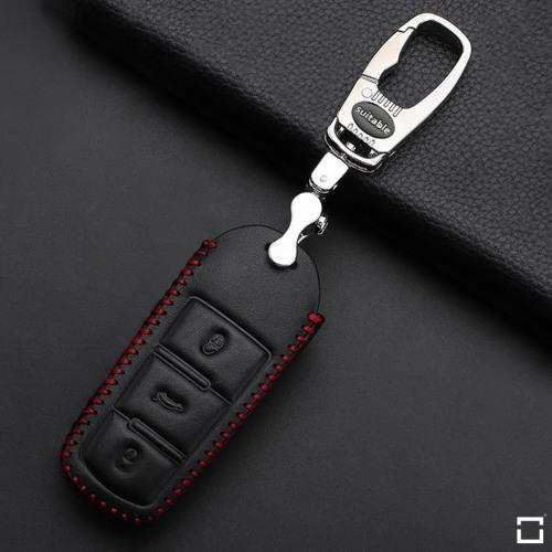 Coque de protection en cuir pour voiture Volkswagen clé télécommande V6 noir/rouge