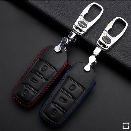 Coque / Housse Clé télécommande en cuir Voiture incl. mousquetons pour Volkswagen noir/bleu LEK22-V6-25