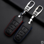 Leather key case/cover incl. keychain for Volkswagen remote key black/blue