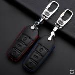 Leder Schlüssel Cover passend für Volkswagen Schlüssel V6 schwarz/blau