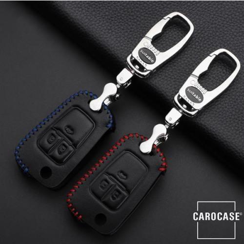 Schlüssel Cover Leder, für OPEL Schlüsseltyp OP6 schwarz/blau