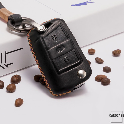 Premium 4D car Key Cover Leather for Volkswagen - KeyType V3 black/gold