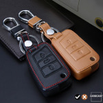 Leather key case/cover incl. keychain for Volkswagen, Audi, Skoda, Seat remote key black