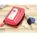 Leder Schlüsseltasche mit Reißverschluß und Kartenfach