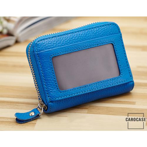 Leder Schlüsseltasche mit Reißverschluß und Kartenfach blau