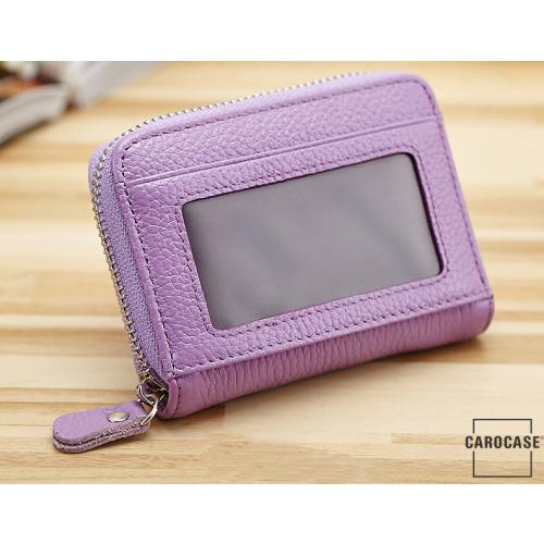 Leder Schlüsseltasche mit Reißverschluß und Kartenfach violett