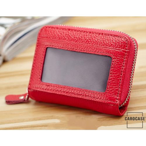 Leder Schlüsseltasche mit Reißverschluß und Kartenfach rot