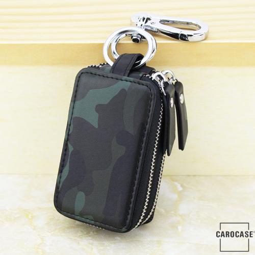 Schlüsseltasche im Camouflagemuster grün