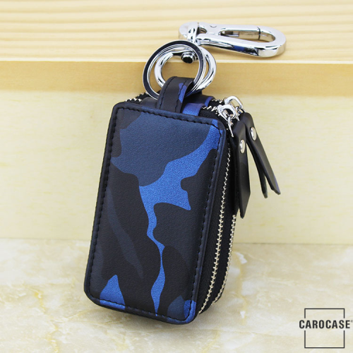Schlüsseltasche im Camouflagemuster blau
