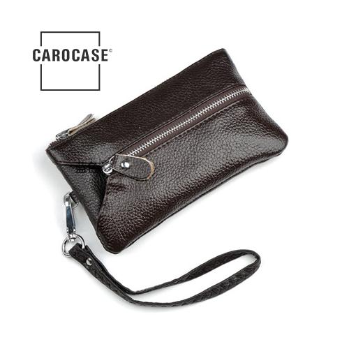Schlüsseltasche aus PU Leder mit Kartenfächern und Reißverschluß braun