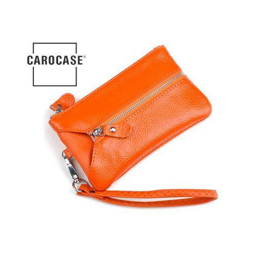 Schlüsseltasche aus PU Leder mit Kartenfächern und Reißverschluß orange