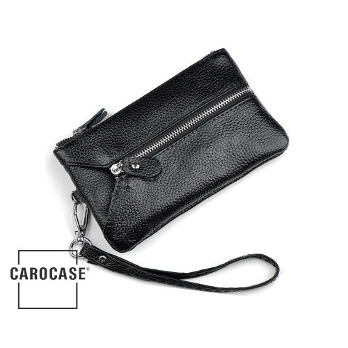 Schlüsseltasche aus PU Leder mit Kartenfächern und Reißverschluß schwarz