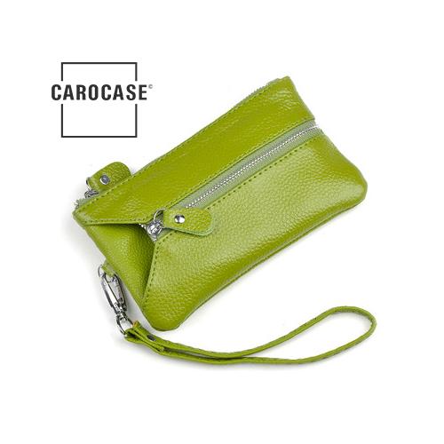 Schlüsseltasche aus PU Leder mit Kartenfächern und Reißverschluß grün