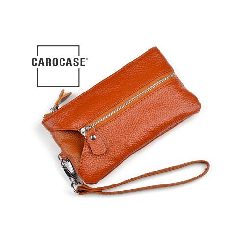 Schlüsseltasche aus PU Leder mit Kartenfächern und Reißverschluß dunkel orange