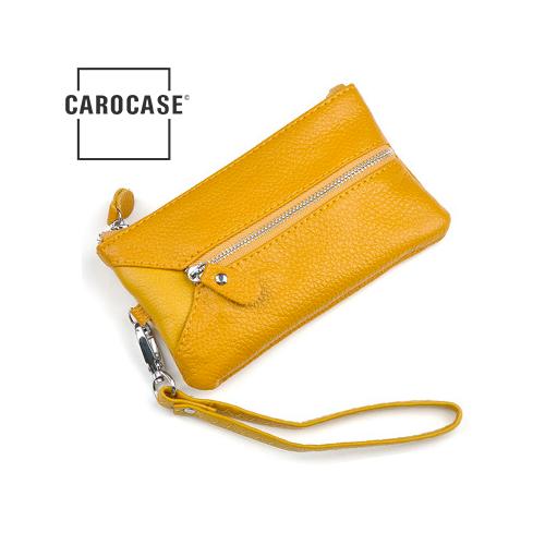 Schlüsseltasche aus PU Leder mit Kartenfächern und Reißverschluß gelb