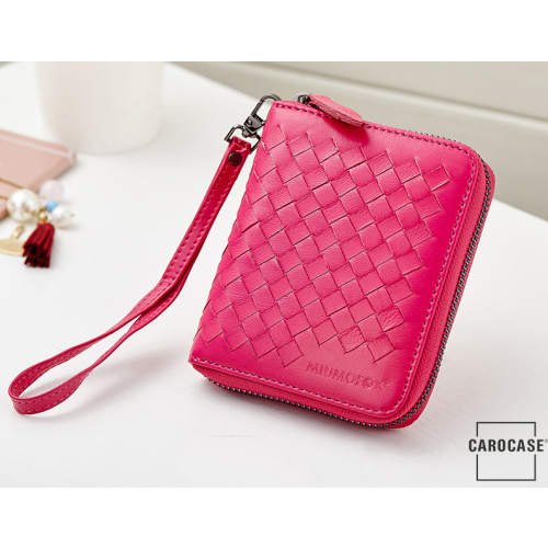 Schlüsseltasche mit Kartenfächern und Reißverschluß pink