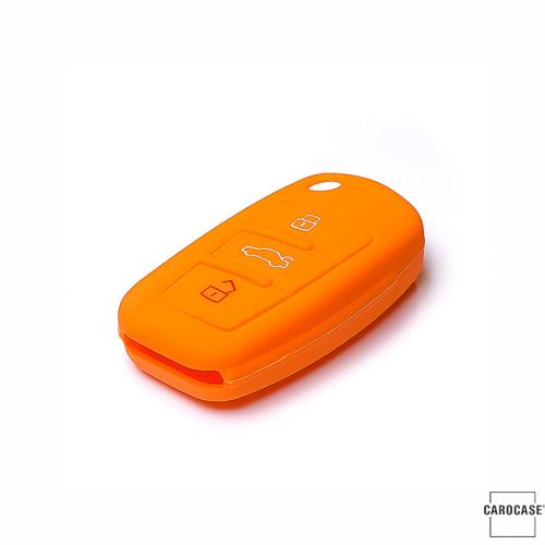 Coque de protection en silicone pour voiture Audi clé télécommande AX3 orange
